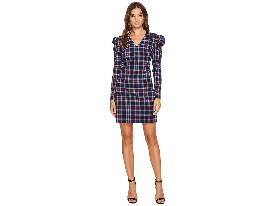 Donna Morgan Joelle V-Neck Shift Dress w/ Puff Sleeve (Navy Combo) Women