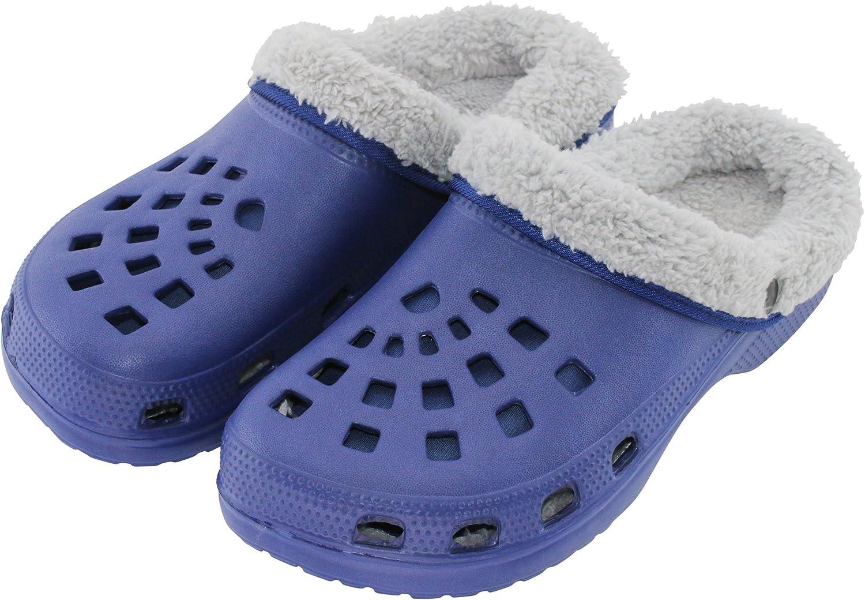 nelle taglie 36/fino a/45 pantofole foderate per il giardino o per la casa in blu//grigio Brandsseller