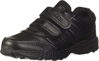 Action Shoes Black Leather School Shoe (UK/India 1)