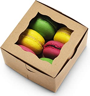 """[50Pack] Bakery Boxes with Window 4x4x2.5"""" - by Cuisiner (Brown)"""