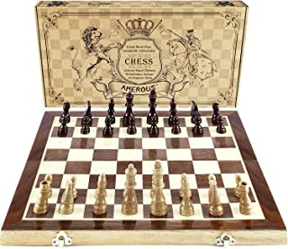 """AMEROUS Chess Set, 15""""x15"""" Folding Magnetic Wooden Standard Chess Game Board Set with Wooden Crafted Pieces and Chessmen S..."""
