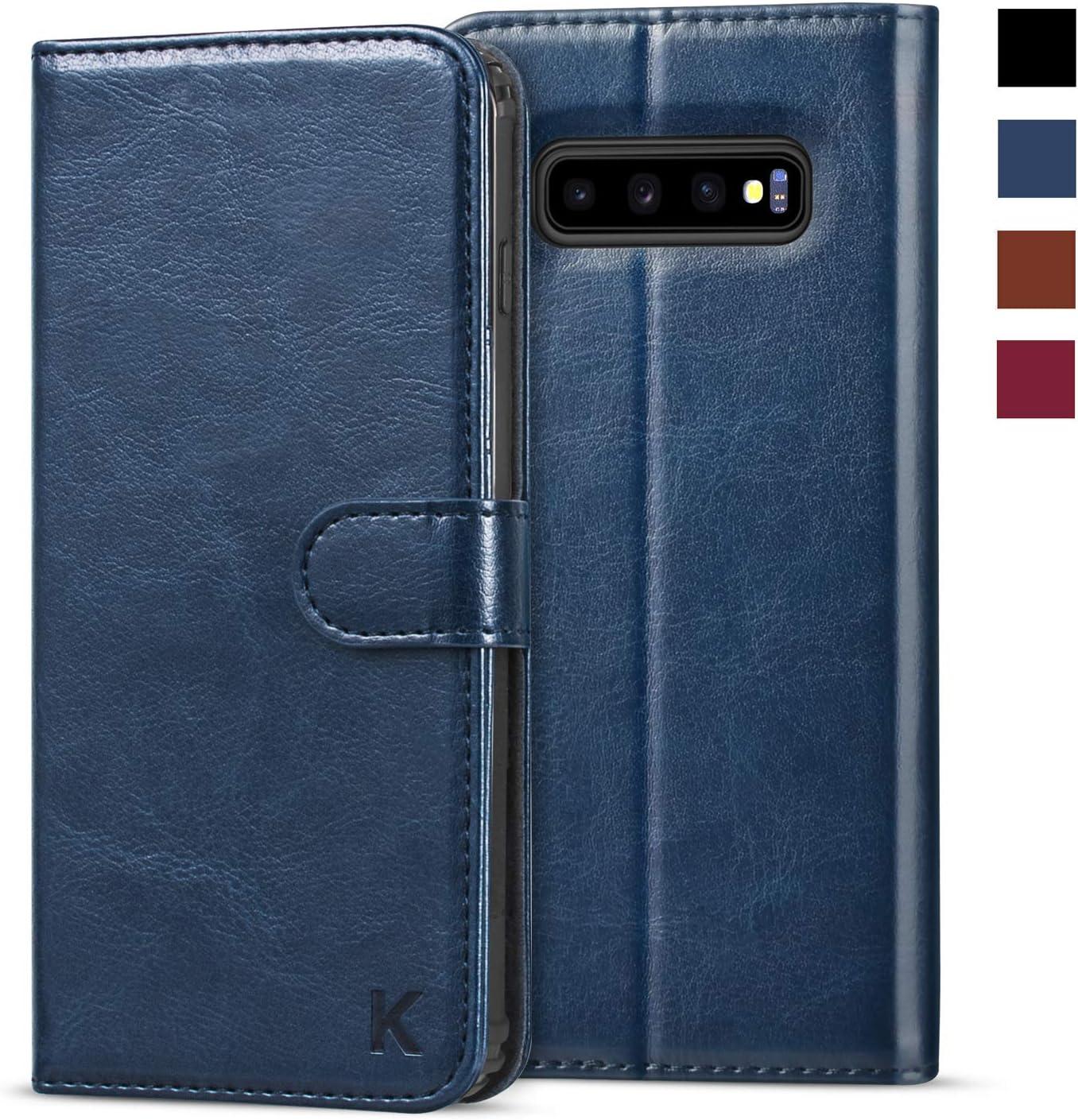 KILINO Galaxy S10 Plus Wallet Case [Premium Leather] [Soft TPU] [RFID Blocking] [Shock-Absorbent Bumper] [Card Slots] [Kickstand] [Magnetic Closure] Flip Folio Cover for Samsung Galaxy S10+ (Blue)