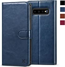 KILINO Galaxy S10+ Plus Wallet Case [Shock-Absorbent Bumper] [Card Slots] [Kickstand] [RFID Blocking] Leather Flip Case Compatible with Samsung Galaxy S10Plus - Blue