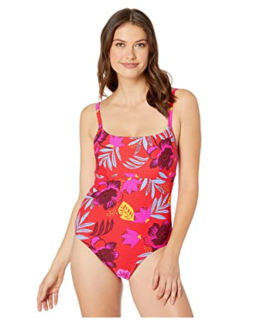 Seafolly On Vacation DD Cup Square Neck Maillot Once-Piece Swimsuit (Chilli) Women