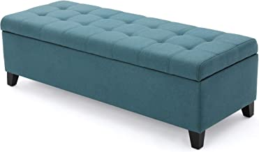 """Christopher Knight Home Living Sterling Dark Teal Fabric Storage Ottoman, 19.25""""D x 50.75""""W x 16.25""""H"""