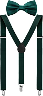 Satinior Suspender Bow Tie Set Clip On Y Shape Adjustable Braces, Pant Suspenders Shoulder Straps (Green)