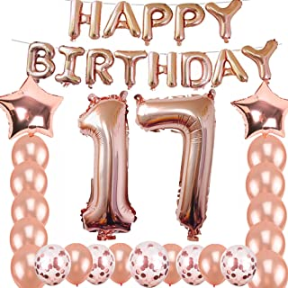 17th Birthday Decorations Party Supplies, Jumbo Rose Gold Foil Balloons for Birthday Party Supplies,Anniversary Events Decorations and Graduation Decorations Sweet 17 Party,17th Anniversary