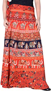 Rajvila Women's Cotton Printed 38 Inch Length Regular Wrap Around Long Skirt(F_W38NT_0001)