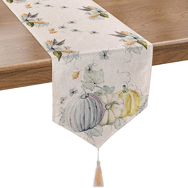 Smurfs Yingda Pumpkin Autumn Leaves Table Runner Watercolor Table Runner For Thanksgiving Day Autumn Fall Catering Events Dinner Parties Wedding Indoor And Outdoor Parties 14 70 Inches