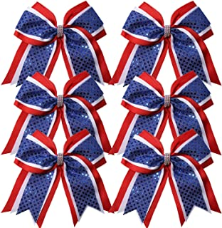 Cheerleader Bows 8 Inch 3 Layers 6 Pcs Ponytail Holder Jumbo Cheerleading Bows Hair Elastic Hair Tie for High School College (Red/White/Royal Blue)