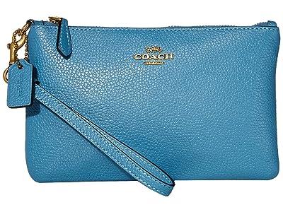 COACH Polished Pebble Small Wristlet (B4/Pacific Blue) Wristlet Handbags
