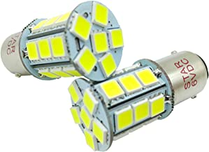 2 × BA15D 6V 1142 1076 1158 1178 LED Car Bulbs, Super Bright 24-SMD5050 Replacement for Marine Boat RV Camper Motorcycle Trailer Interior Light, White 6000K-6500K
