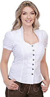 Schöneberger Trachten Couture Damen Trachtenbluse Jasmin - traditionelle, taillierte Trachten Bluse mit Stehkragen & Herzknöpfen