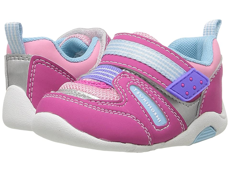 Tsukihoshi Kids Neko (Toddler) (Fuchsia/Light Blue) Girls Shoes