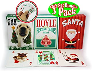 Bicycle Mini Playing Cards Christmas Theme Hoyle Holiday Standard, Santa, & The Dog Complete Gift Set Party Bundle (Stocking Stuffers) - 3 Pack