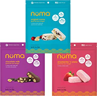 Healthy Asian Nougat Variety Pack - Low Calorie, Low Sugar, All-Natural, Gluten Free, 4g Protein - Chewy, Creamy - 3 Bags of 8 Individually Wrapped Chews Each of Creme, Chocolate Milk and Strawberry