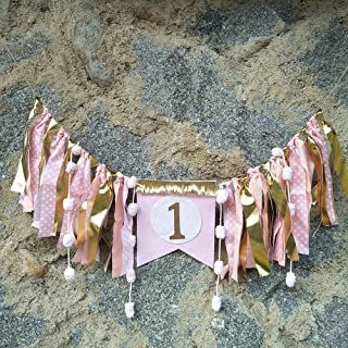 Baby Birthday Decoration - 1st Birthday Baby High Chair Banner Chair Tutu Skirt Decoration for Birthday Party Supplies (Gold&Pink A)