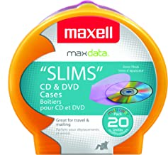 Maxell 190073 CD and DVD Disc Case Shells 5mm thick, Colorful 20-Pack