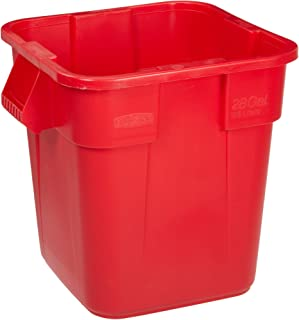 Rubbermaid Commercial Products BRUTE Square Bin Storage Container without Lid, 28-Gallon, Red (FG352600RED)