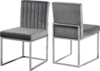 Meridian Furniture Giselle Collection Modern   Contemporary Grey Velvet Upholstered Dining Chair with Polished Chrome Metal Legs, Set of 2, 18