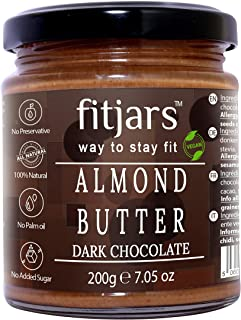 FITJARS All Natural Almond Butter with Dark Chocolate, 200 g (Almond Butter 80%, Dark Chocolate 20% Breakfast Vegan Diet B...