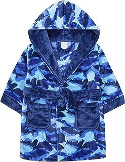 Boys Dressing Gown Football Robe Soft Fleece Hooded Bathrobe New Kids Age 2-6 Yr