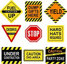 Blulu Party Decorations, 10-11.8 Inch Laminated Signs, Theme Party Signs, Paper Cutouts with 40 Glue Point Dots (Construction Signs, 9 Pieces)