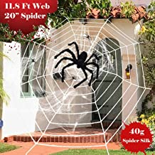 11.8 Feet Plush Spider Web Stretch Cobweb Set with 20 Inches Realistic Looking Hairy Spider, Best for Halloween Outdoor Yard Haunted House Party Decoration, Decor Supplies Props Party Favor