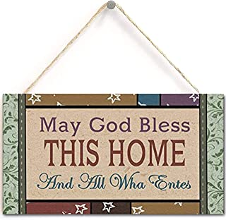 """May God Bless This Home Hanging Signs Perfect for Home Decor (10"""" x 5"""")"""