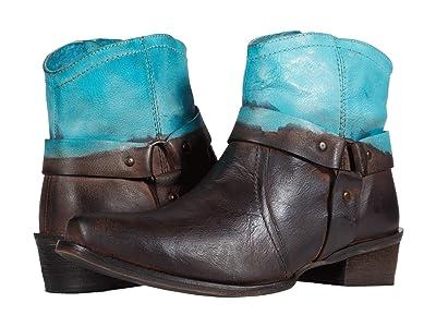 Roper Arizona (Brown Leather Vamp/Blue Dip-Dye Shaft) Cowboy Boots