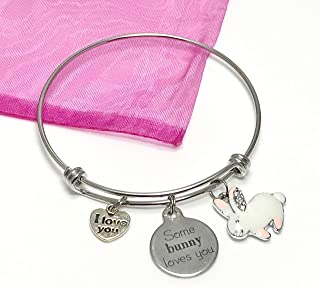 Some Bunny Loves You Charm Bracelet - Stainless Steel Expandable Bangle