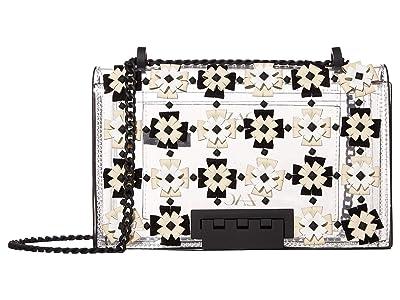 ZAC Zac Posen Earthette Chain Shoulder Floral Applique Glass (Black) Handbags