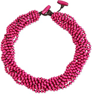 Bright Pink Handmade Multi-Strand Beaded Wood Torsade Necklace, 19