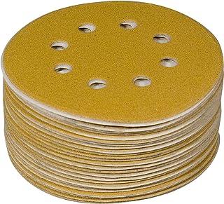 "POWERTEC 44006G-50 Gold 5"" Hook and Loop Sanding Disc | 8 Hole | 60 Grit – 50 Pack"