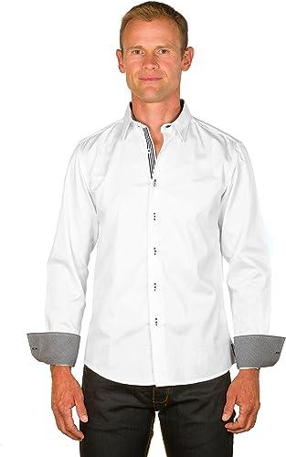 Ugholin - Camisa Casual Algodón Bianca de Manga Larga para ...