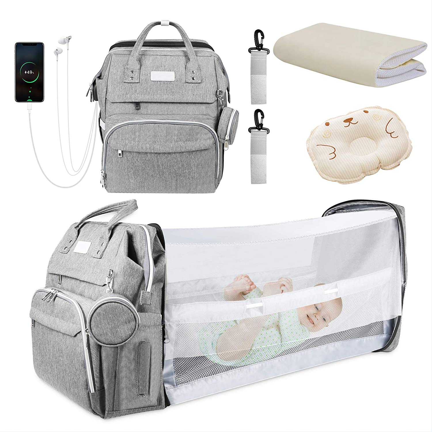 Baby Diaper Bag Backpack, Multifunction Travel Diaper Changing Station, Large Capacity Portable Crib Bakcpack with Baby Pillow,Waterproof Changing Pad,USB Charging Port,Pacifier Case and Sunshade