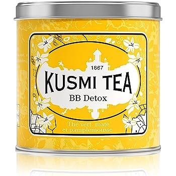 Kusmi Tea -Thé BB Detox - Mélange de Thé Vert, Thé Maté et Plantes Aromatisé Pamplemousse - À Déguster Chaud ou en Thé Glacé - Parfums Finement Acidulés - Boite Thé Métal 250 g - Environ 100 Tasses