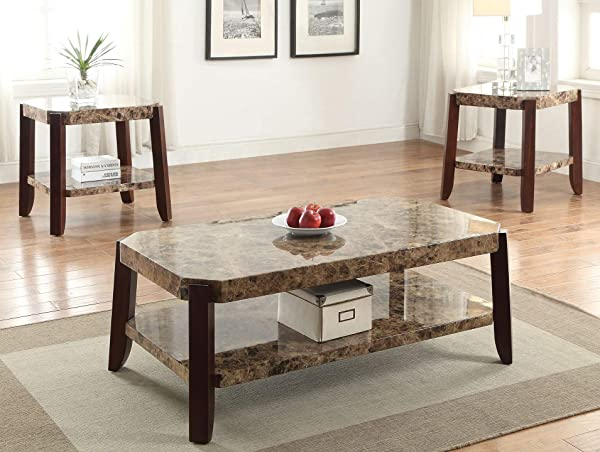 Acme Furniture 82126 Dacia End Table Faux Marble Brown
