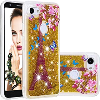 Glitter Case for Google Pixel 3A XL,QFFUN Bling Floating Liquid Quicksand Soft Clear Slim Fit Silicone Case Shockproof Transparent Protective Cover Bumper - Butterfly Tower