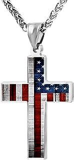 American Flag Patriotic Cross Pendant Necklace Religious Jewelry for Men