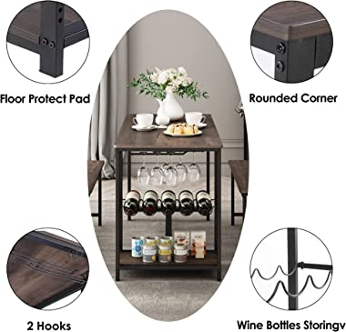 Kitchen Table and Bench for 4, Rustic Wood Dining Room Table Set, Breakfast Nook Table with, Hooks, Wine Rack and Glass Holde