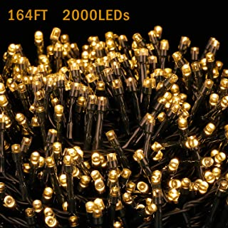 Novtech LED Outdoor String Lights 164FT 2000LEDs Fairy String Lights Plug in Christmas Lights - Waterproof Decorative String Lights for Christmas Home Garden Patio Wedding Party Holiday - Warm White