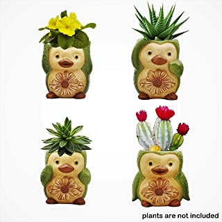 Charming Melodie-Ceramic Bird Succulent pots,Cute Set of 4 Small Flower pots Cactus Animal Planter, Indoor Plant Pot,Herb Pot, Mini Succulent Planters with Drainage Hole 3.6x3.5x2.3 Inch
