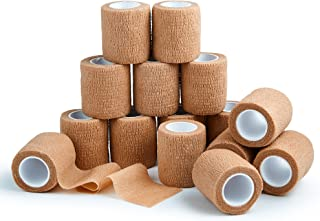 Sponsored Ad - 15 Bulk Pack Self Adherent Cohesive Wrap Bandages 2 Inches X 5 Yards, Self Adhesive Rolls for Swelling Spra...