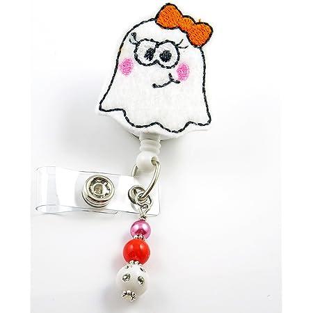 halloween badge holder badge reel Glitter ghost badge clip badge pull badge holder retractable badge reel planner clip