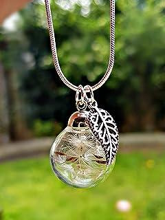 Regalo de Navidad Collar de diente de león de plata esterlina 925 dije hoja de plata Caja de regalo cadena Joyería de la f...