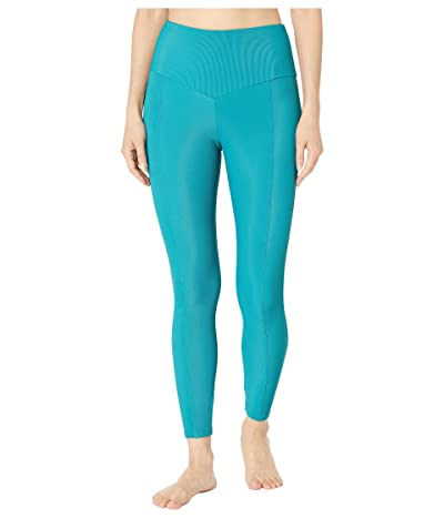 Onzie Sweetheart Midi Leggings (Teal Rib) Women