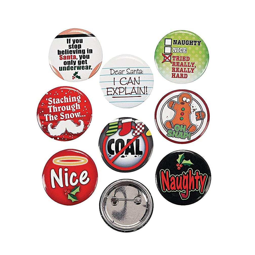 24 (2 Dozen) ~ Funny Christmas Sayings Button Pins ~ Approx. 1.25