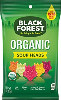 Black Forest Organic Sour Heads Gummy Candy, 4 Ounce Bag, Pack of 12