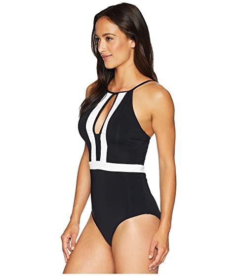 Clearance Low Cost Cheap Sale Prices JETS by Jessika Allen Classique High Neck One-Piece Black/White Cheap Best Release Dates Cheap Price fGOGJ20